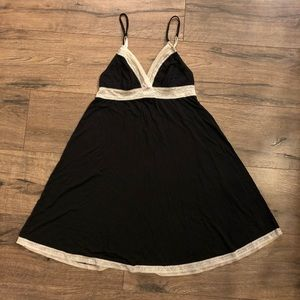 Victoria Secret Black Slip Cream Trim Small
